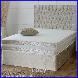 1000 Memory Pocket Crushed Velvet Divan Bed + Cream Finish + Storage Options