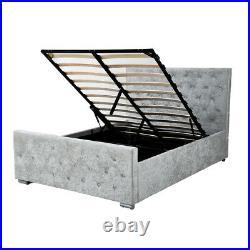 4FT6,5FT Crush Velvet Fabric Upholstered Ottoman Gas lift up Storage Bed Frame