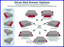 4ft6 Grey Double Bed Divan Bed- Drawer Storage- Small Double King Headboard