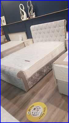 5FT KING SIZE Chesterfield Sleigh Bed with Ottoman Storage TOP QUALITY