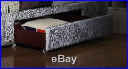 5FT Modern King Size Crushed Velvet Fabric Side Storage Bed frame 2020, Silver