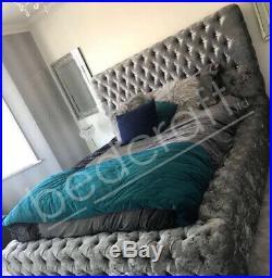 AMBASSADOR CHESTERFIELD PLUSH STORAGE BED Diamante Fabric Upholstered Platform