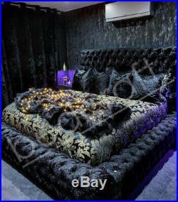 AMBASSADOR SUPERKING BED Plush or Crush Velvet Chesterfield, Ottoman Storage