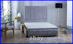 ARENA NAPLE Velvet Under Storage Divan Bed + 54 LUXURY HEADBOARD MADE IN UK