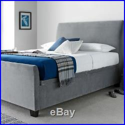 Allendale Plume Grey Velvet Ottoman Storage Bed Frame with 3 Size Options