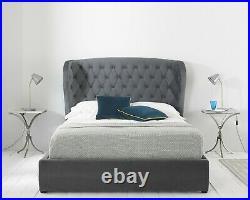 Amalfi Ottoman Bed Frame Lift Up Storage Luxurious Grey Soft Velvet NCF Living