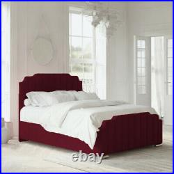 Art Deco Upholstered Ottoman Storage Gas Lift Bed Frame with Headboard Footboard
