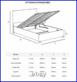Aspire Beds Olivier Upholstered Storage Ottoman Bed Plush Velvet Steel Grey
