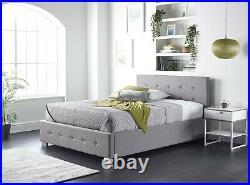 Aspire Beds Upholstered Side Opening Storage Ottoman Grey Linen Velvet Fabrics