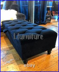 BLACK OTTOMAN seating storage footstool box velvet upholstered foot rest bench