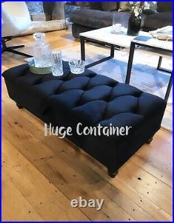 BLACK STORAGE ottoman, velvet upholstered handmade coffee table or footstool