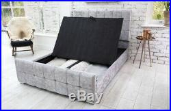 BRAND NEW IN BOXES Grey Crushed Velvet Fabric STORAGE Double Bed Frame