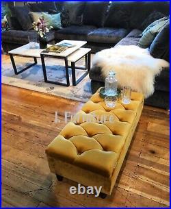 BRAND NEW! Ottoman storage footstool box velvet upholstered bench seat UK