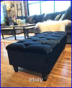 BRAND NEW! Storage ottoman footstool box velvet upholstered BLACK bench seat