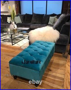 BRAND NEW! TEAL AQUA ottoman storage footstool velvet upholstered bench seat
