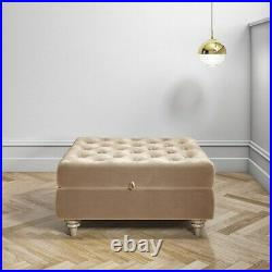Beige Ottoman Storage Footstool Buttoned Inez