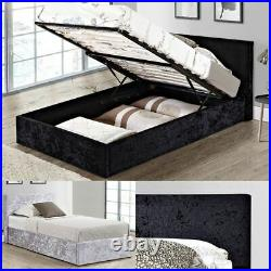 Berlin Crushed Velvet Ottoman Storage Bed with Mattress, Colour and Size Options