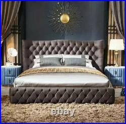 Bespoke Chesterfield Swan Wingback Bed Upholstered Handmade Plush Crush