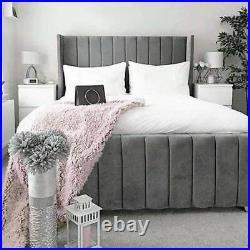 Bespoke Line Panel Wingback bed Upholstered Hand made Plush velvet crush velvet