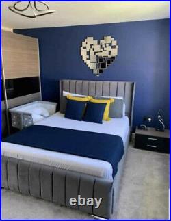 Bespoke Line Panel Wingback bed Upholstered Hand made Plush velvet storage beds