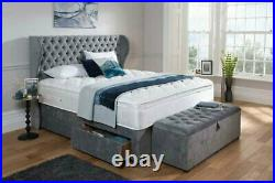 Bespoke Valentino Chesterfield Divan Bed with Storage Drawers & Wing Headboard