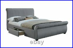 Birlea Lancaster Grey Fabric Sleigh Bed with Drawer Storage 4ft6 Double & 5ft