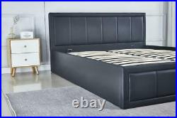 Black PU Leather Ottoman Storage Bed Upholstered Headboard Gas Lift Up Storage