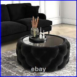Black Velvet Buttoned Coffee Table with Ottoman Storage Clio