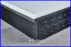 Black Velvet Ottoman Storage Bed Frame Upholstered Headboard Gas Lift Storage
