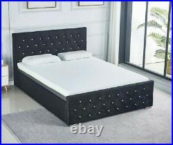 Black Velvet Ottoman Storage Bed Frame Upholstered Stylish Headboard Gas Lift