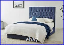 Blue Navy Velvet Ottoman Storage Bed Gas Lift Frame & Upholstered Headboard