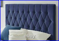 Blue Navy Velvet Ottoman Storage Bed Gas Lift Headboard & Memory Foam Mattress