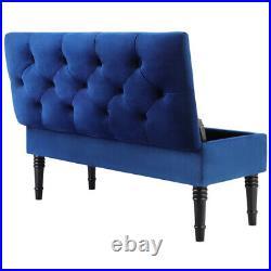 Blue Ottoman Seating Storage Footstool Box Velvet Upholstered Foot Rest Bench UK