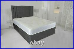 Brand New Divan Cassie Plush Velvet Bed Free Headboard Plus Memory Foam Matt