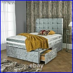 Brand New Silver Crush Velvet Memory Foam Divan Bed Set All Sizes