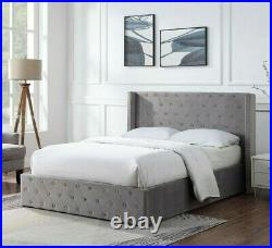 Brushed Velvet Standsted Ottoman Storage Bed Gas Lift Up Bed Frame With Mattress