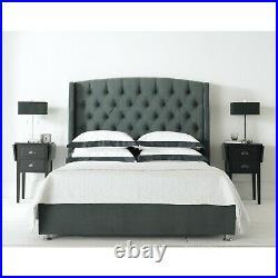 Buckingham Ottoman Bed Frame Modern Lift Up Storage Grey Soft Velvet NCF Living