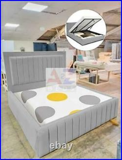 Bumper Panel Bed With/Without Ottoman storage, Gas Lift Storage Bed Plush Velvet
