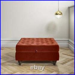 Burnt Orange Ottoman Storage Footstool Buttoned Inez INE009