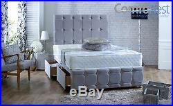 CLIFTON Naple Velvet upholstered under storage divan bed + 54 Large Headboard