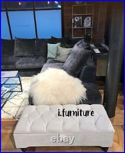 CREAM OTTOMAN seating storage footstool box velvet upholstered foot rest bench