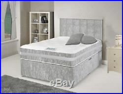 CRUSHED VELVET STORAGE BED + MEMORY MATTRESS + HEADBOARD 3FT 4FT 4FT6 Double 5FT
