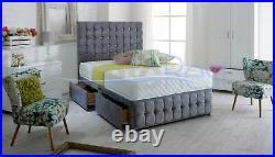 CUBEX DESIGNER Naple Velvet Storage Divan Bed + LARGE 54 Height Headboard, UK