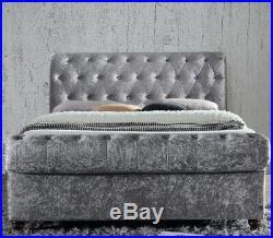 Castello Steel Silver Velvet Ottoman Storage Bed 4 Mattress, 3 Size Options