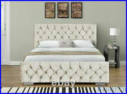 Champagne Crushed Velvet Ottoman Storage Bed with Diamante Buttons in Headboard