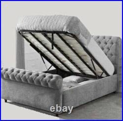 Chesterfield Ottoman Sleigh Bed with Huge Storage Top Quality