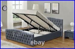 Chesterfield Plush Velvet Ottoman Storage Fabric Bed Double King Luxury Hamburg