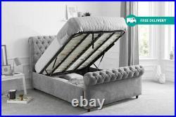 Chesterfield Sleigh Bed Gaslift Storage Ottoman Bed Frame Plush Velvet