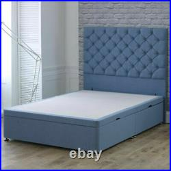 Chesterfield Upholstered Gas Lift Ottoman Storage Divan Bed Base with Headboard