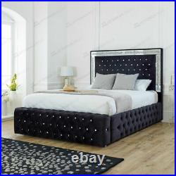 Chesterfield Upholstered Ottoman Storage Mirrored Bed Frame Base with Headboard